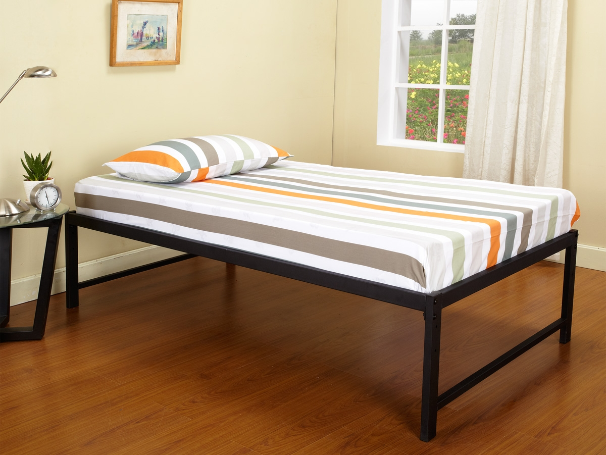 Black Metal Twin Size Daybed (Daybed) Frame With Headboard