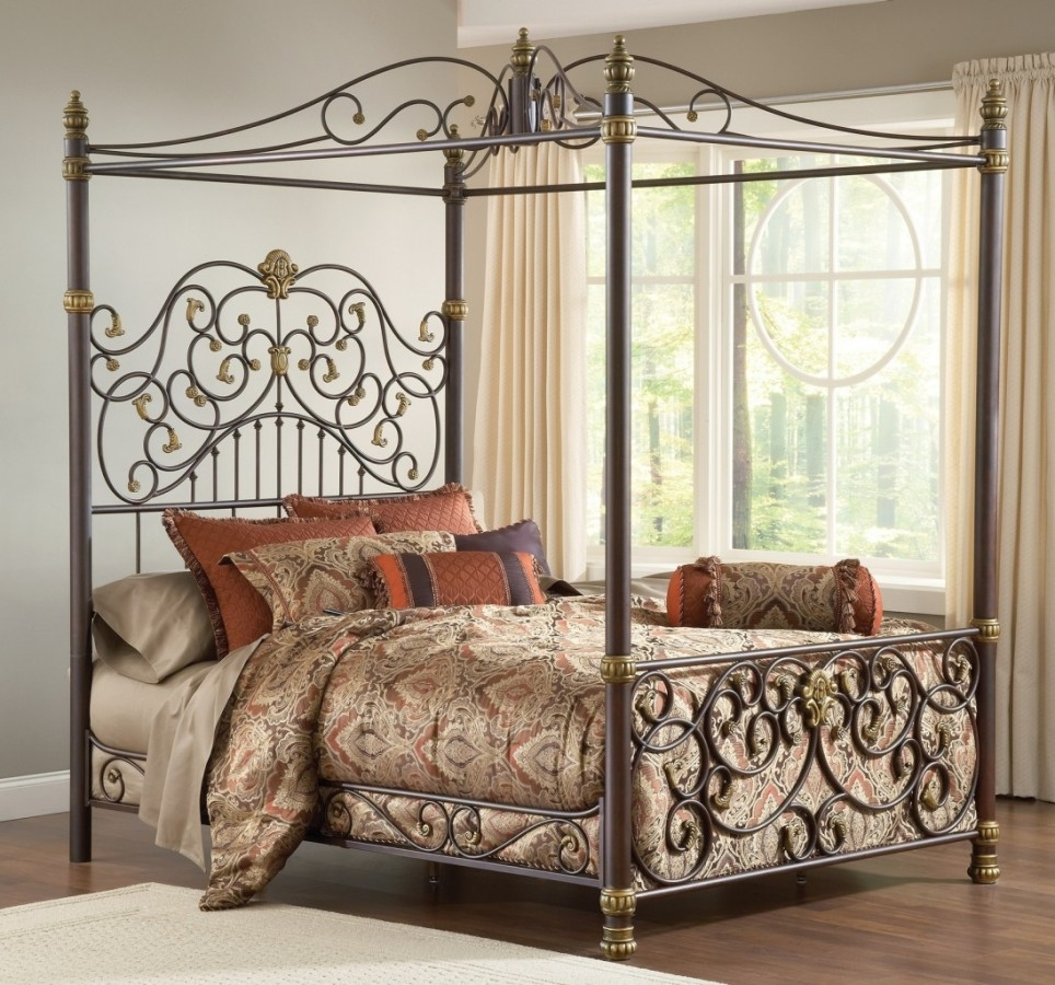 Black Wrought Iron Canopy Bed Frame