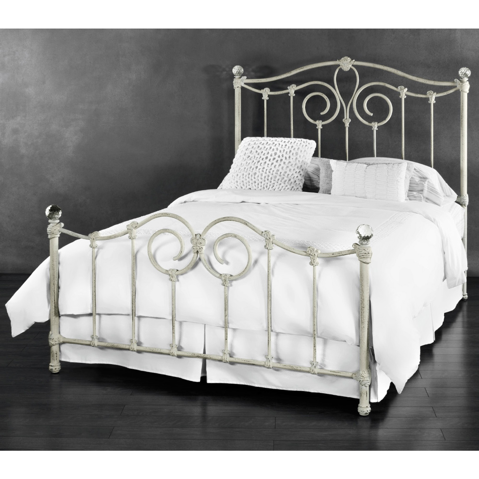 Distressed White Metal Bed Frame