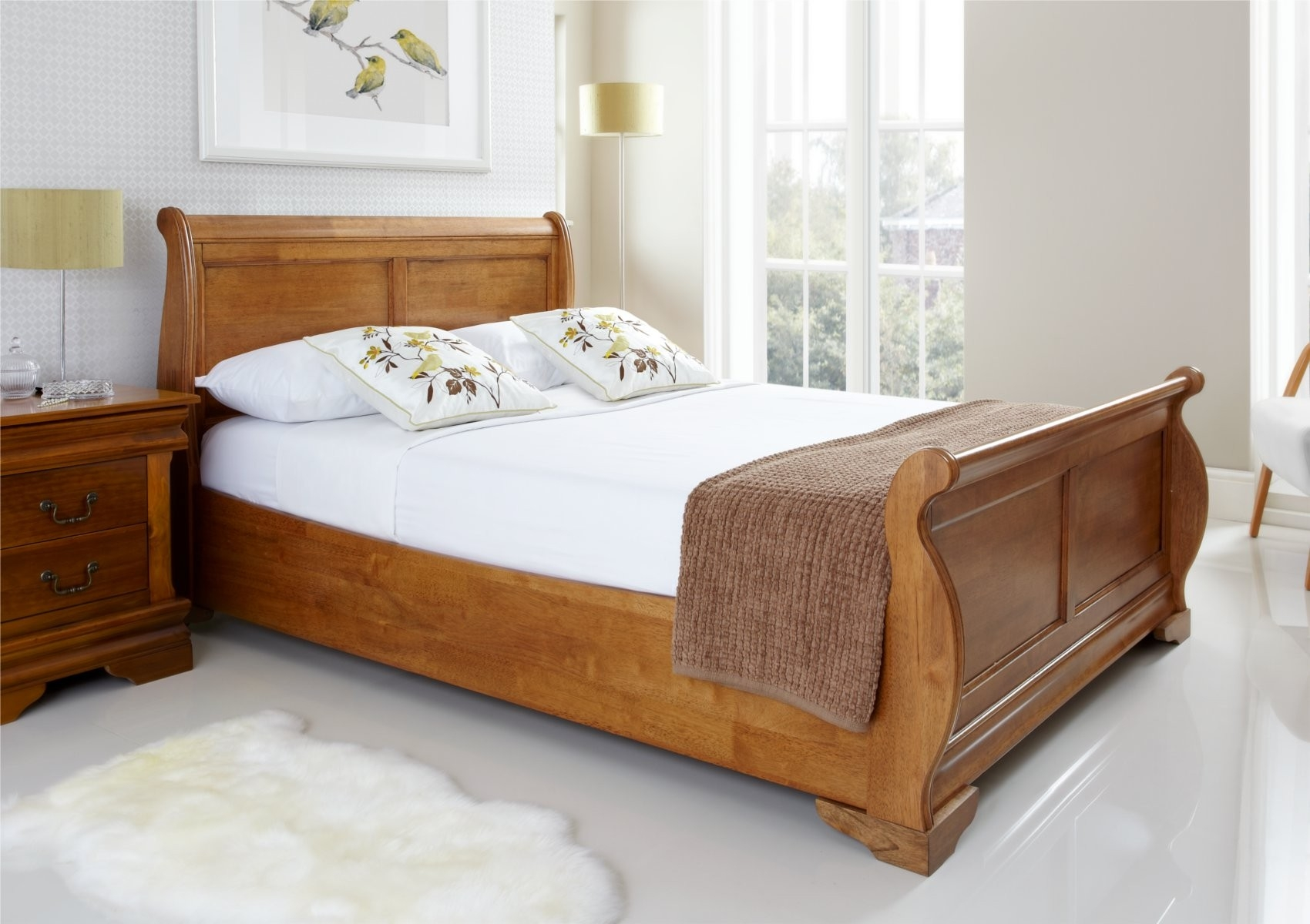 Double Wooden Sleigh Bed Frame