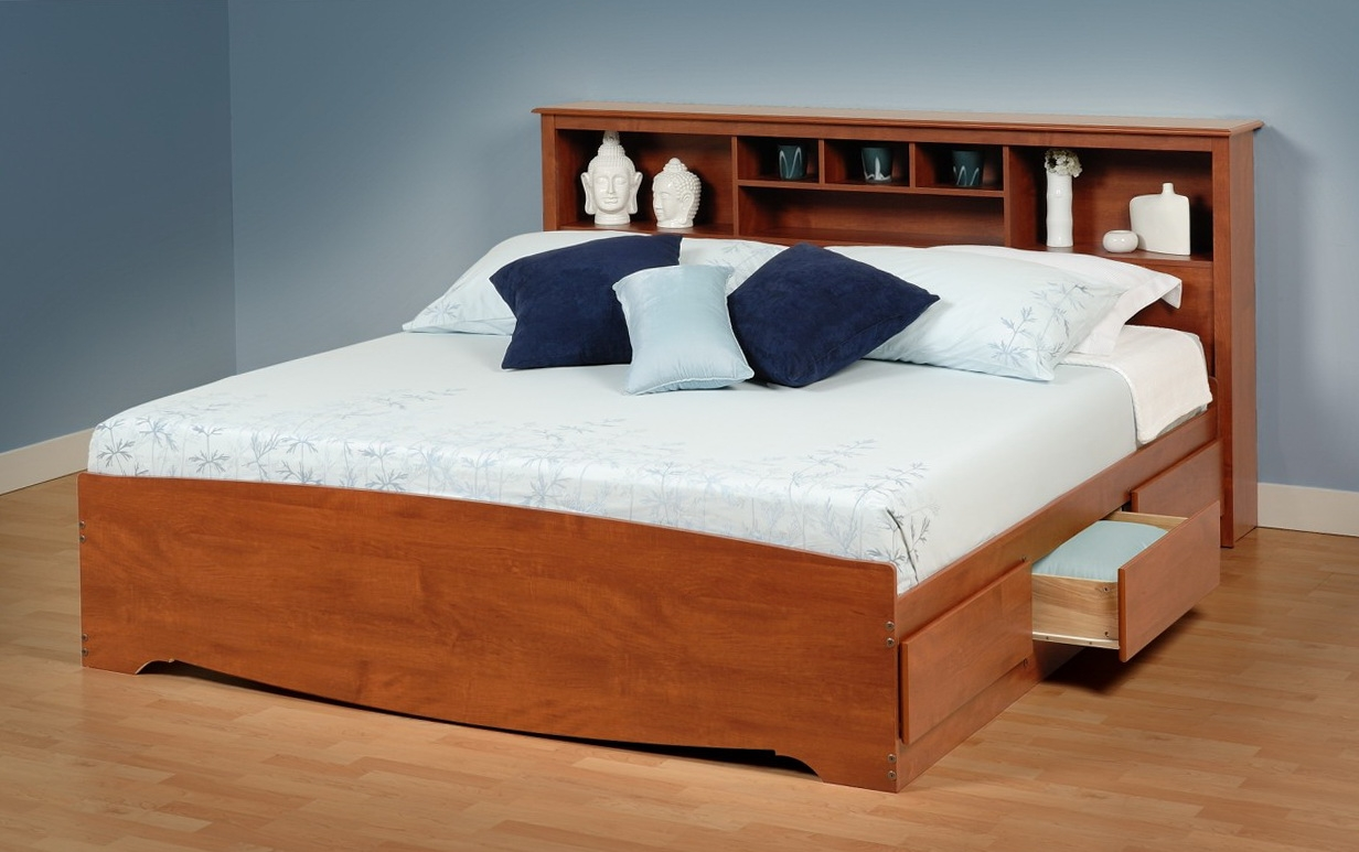 King Bed Frame With Drawers And Headboard
