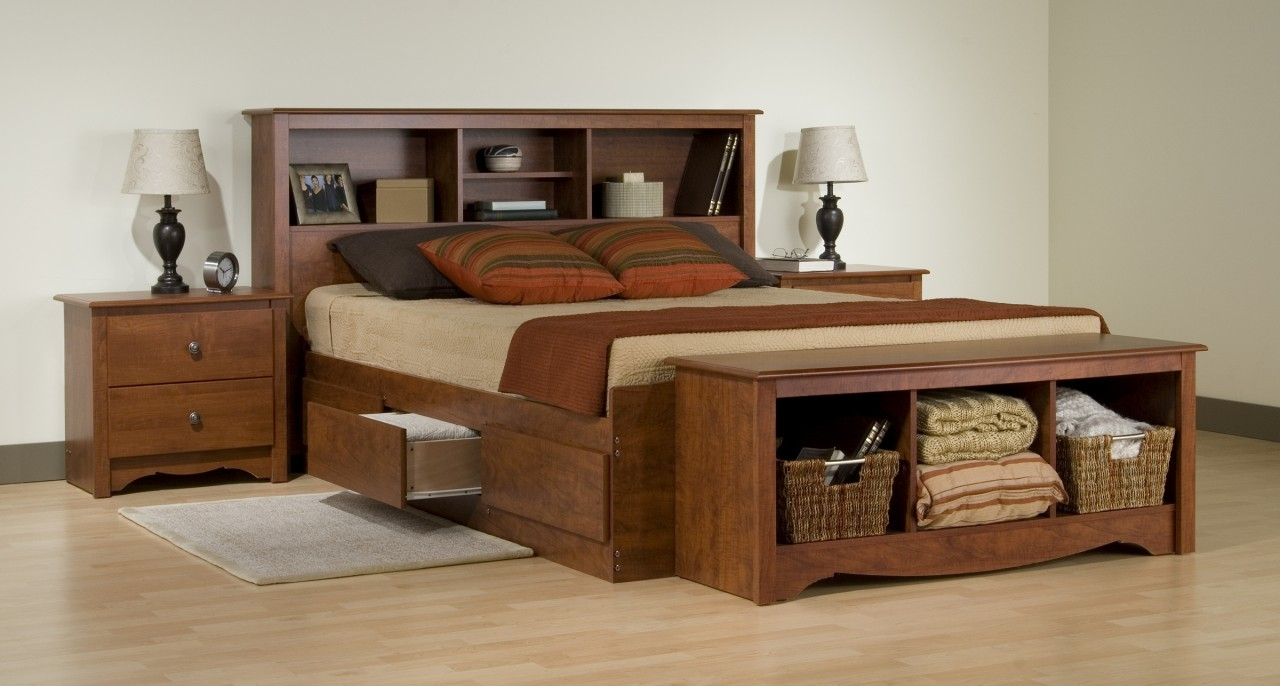 King Size Bed Frame With Storage Wooden