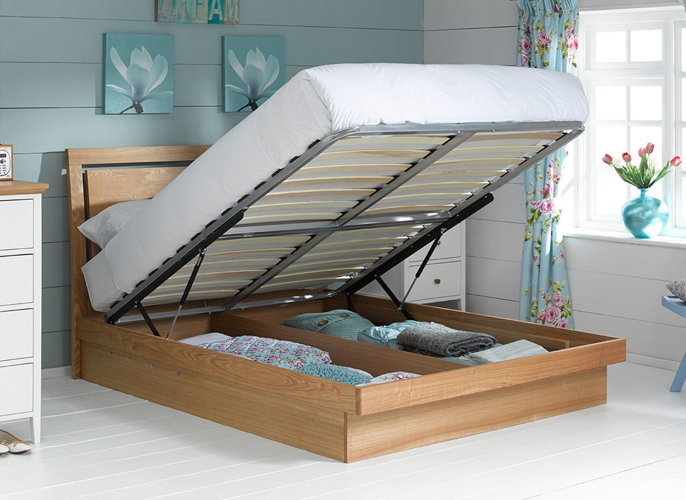 Permalink to Oak Ottoman Wooden Bed Frame