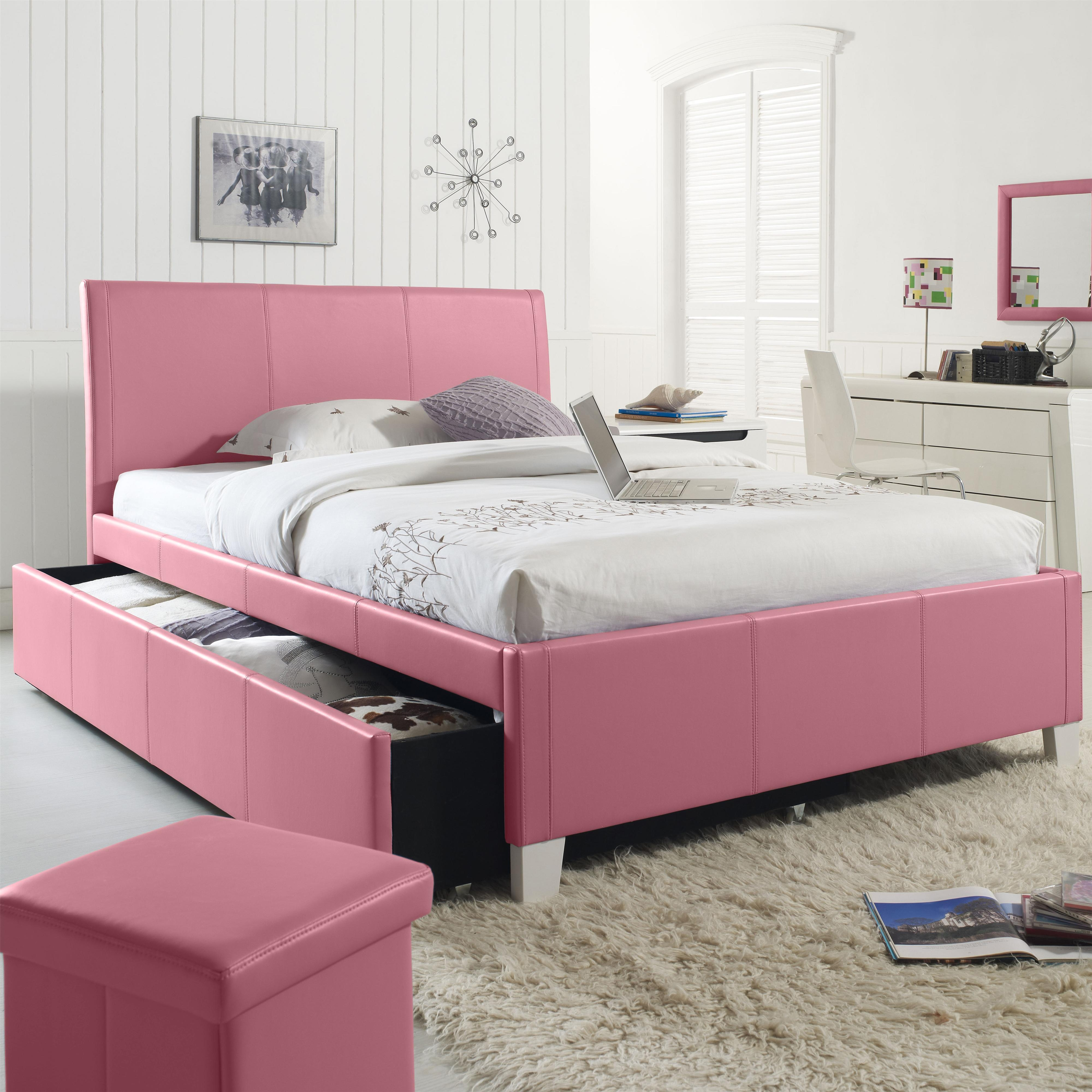 Pink Queen Size Bed Framepink leather bed with sliding storage under the bed combined with