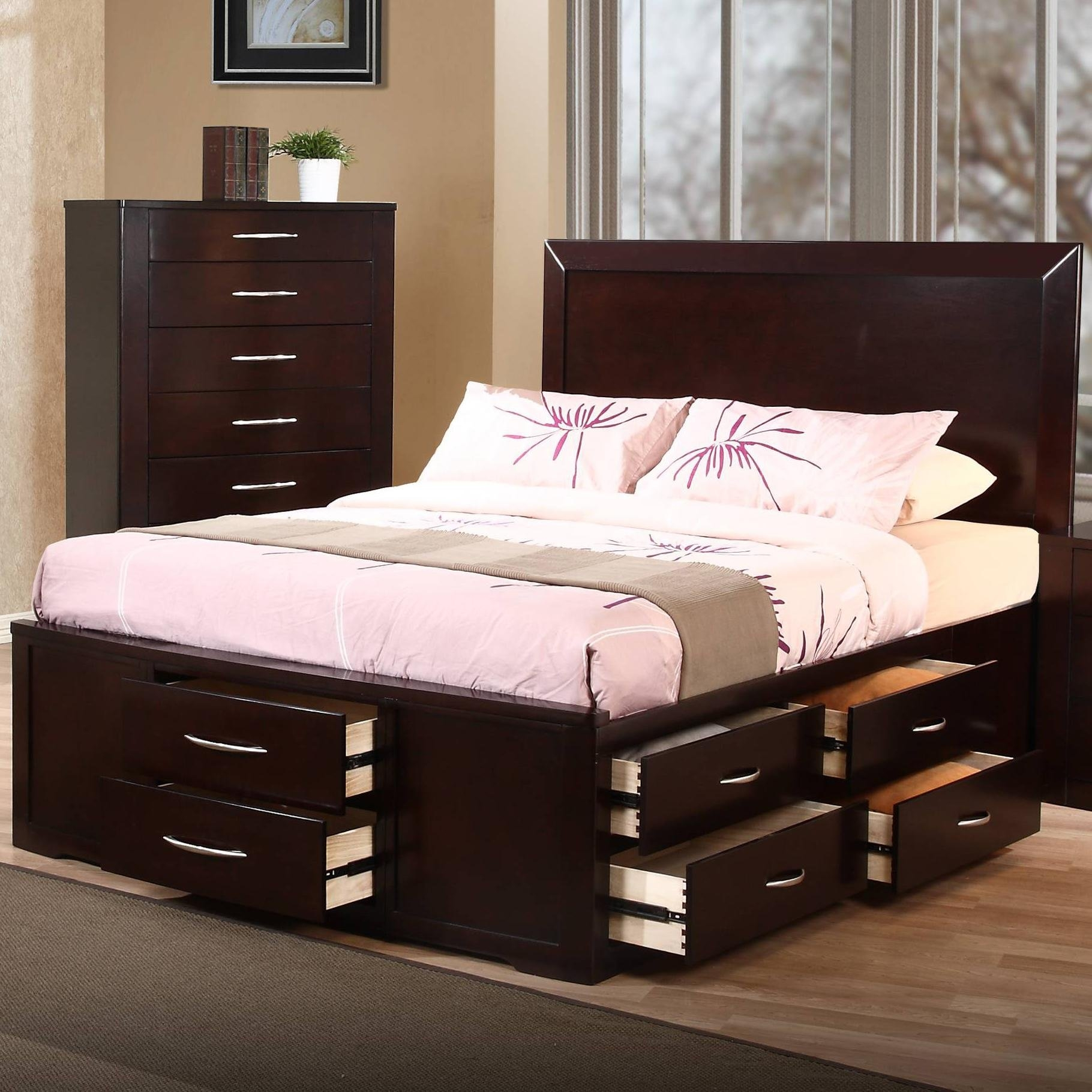 Queen Size Bed Frame With Storage Headboard