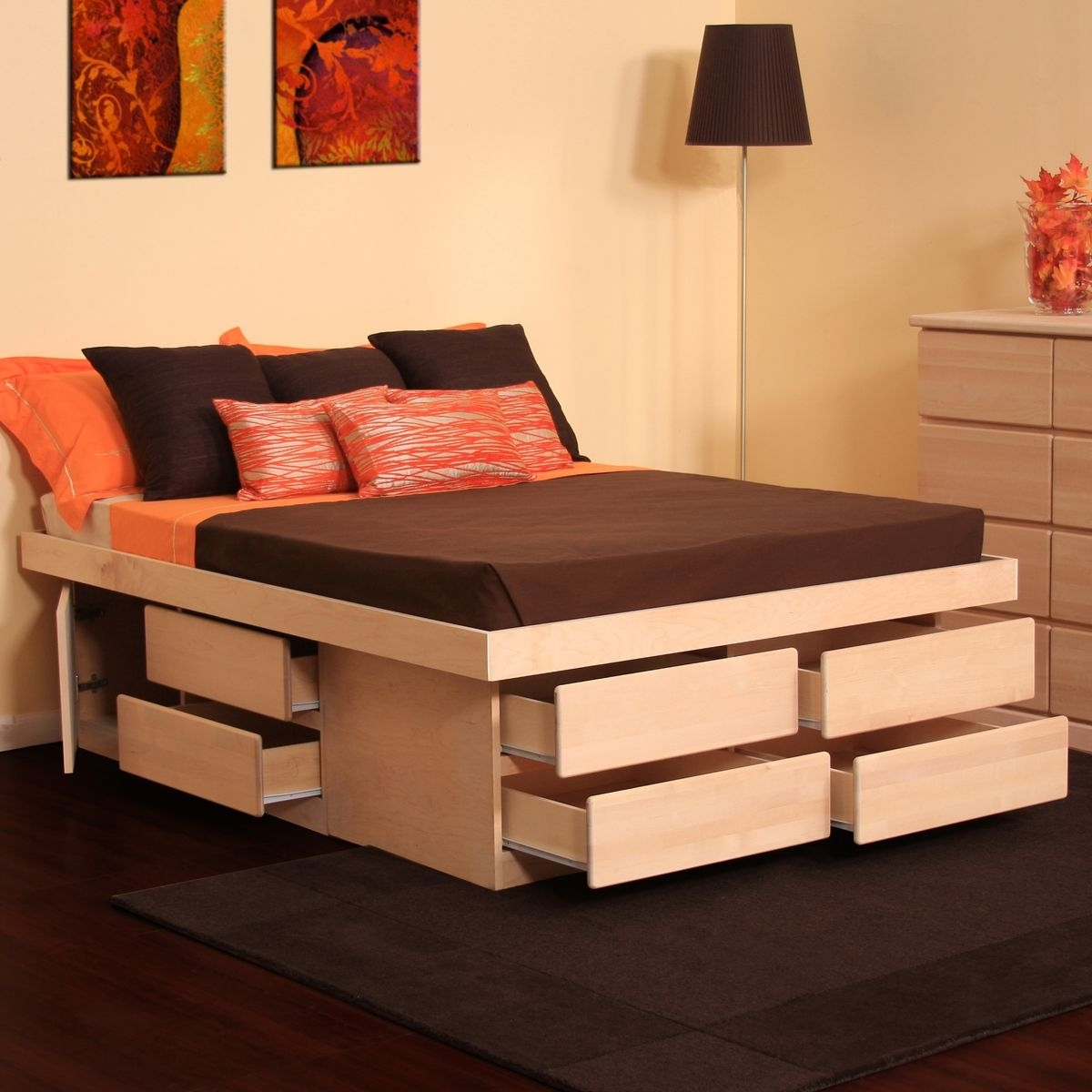 Queen Size Platform Bed Frame With Drawers