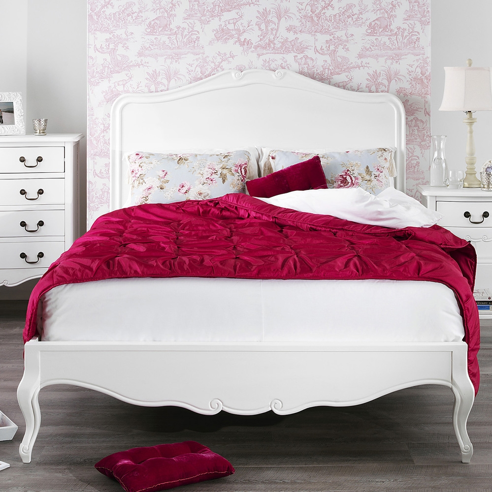 Shabby Chic White Double Bed Frame