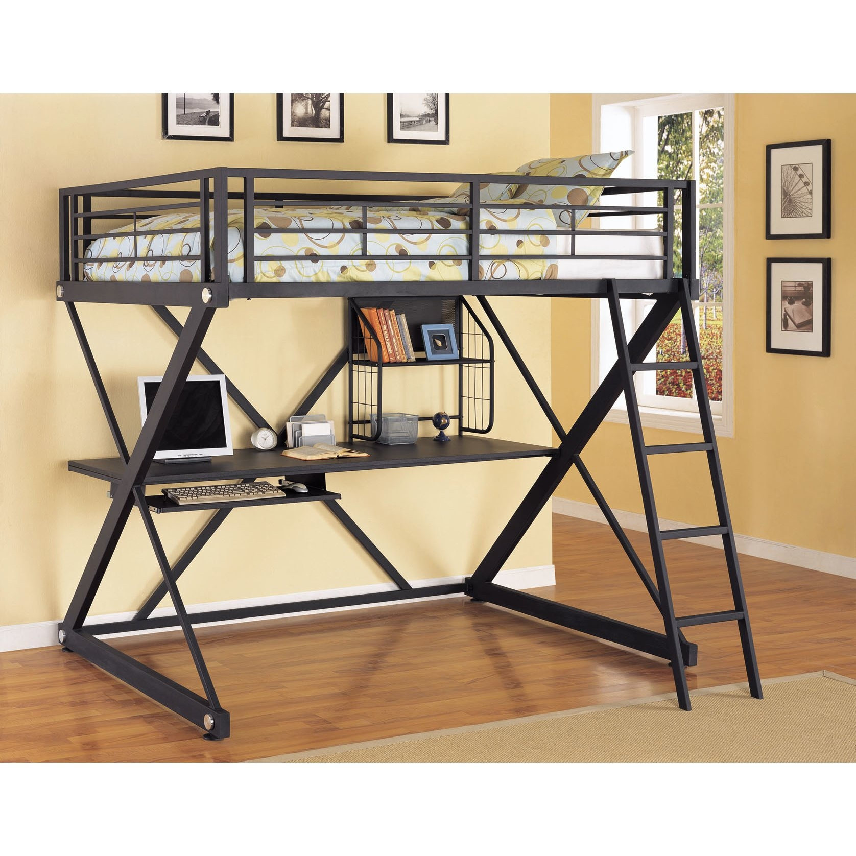 Tubular Metal Frame Loft Bed