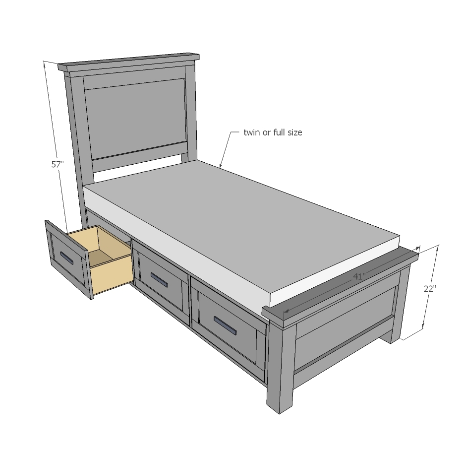 Twin Size Storage Bed Frame Plans