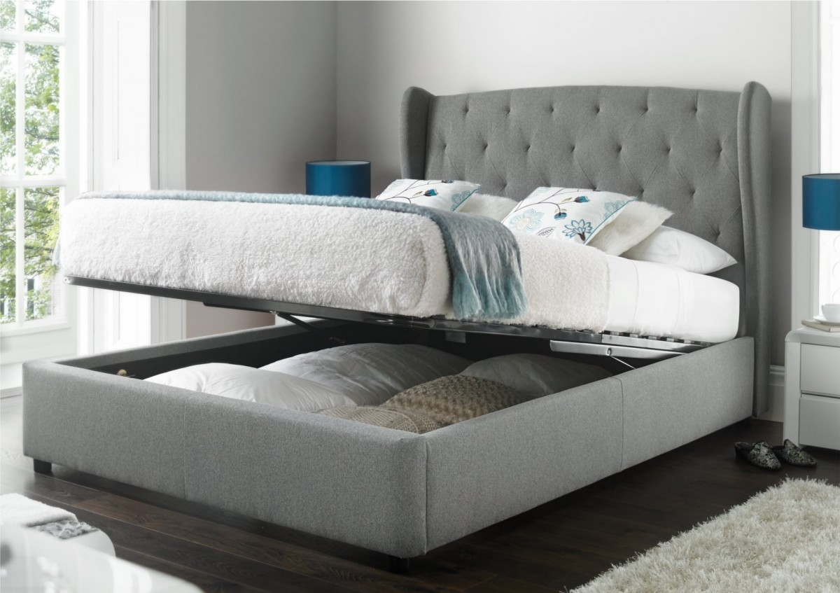 Upholstered Double Bed Frame With Storage Bed Frames Ideas