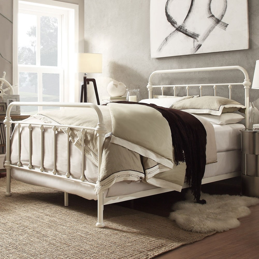 White Cast Iron Queen Bed Frame