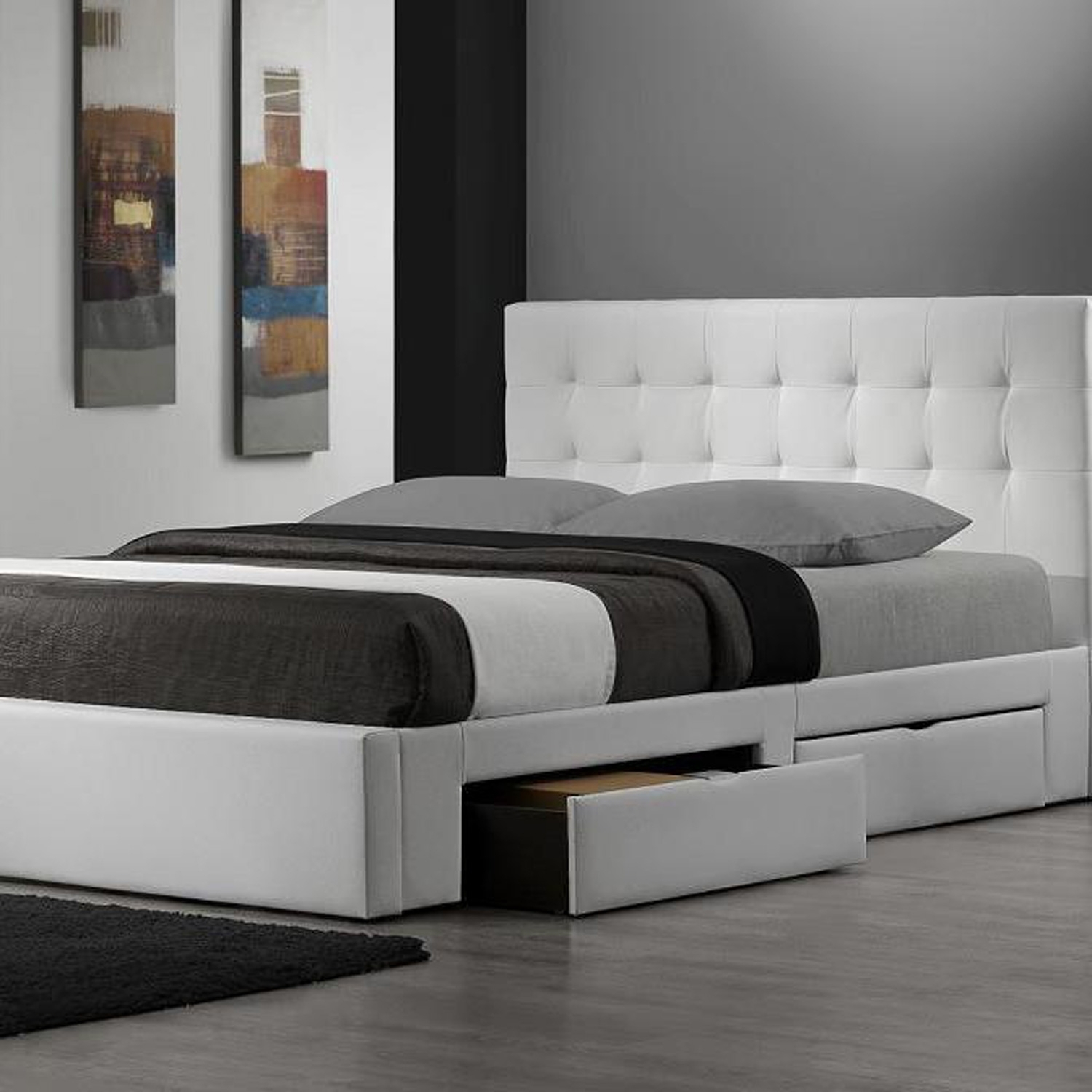 White King Size Bed Frame With Drawers