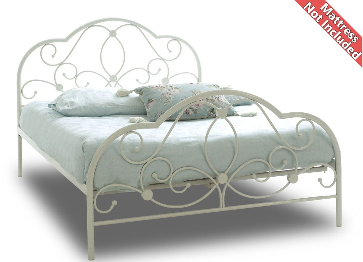 White Metal Bed Frame Small Double