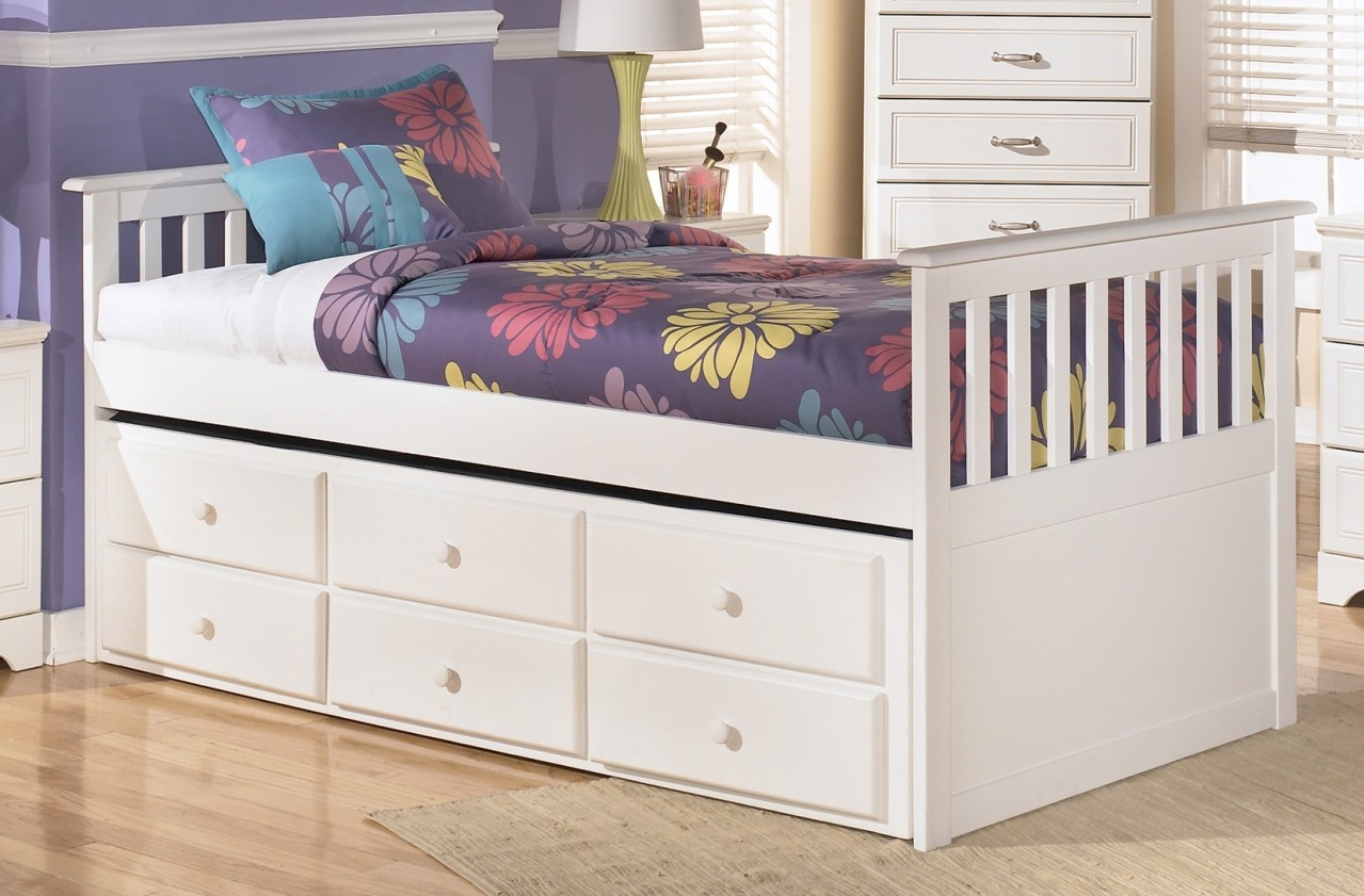 White Twin Bed Frame With Drawers