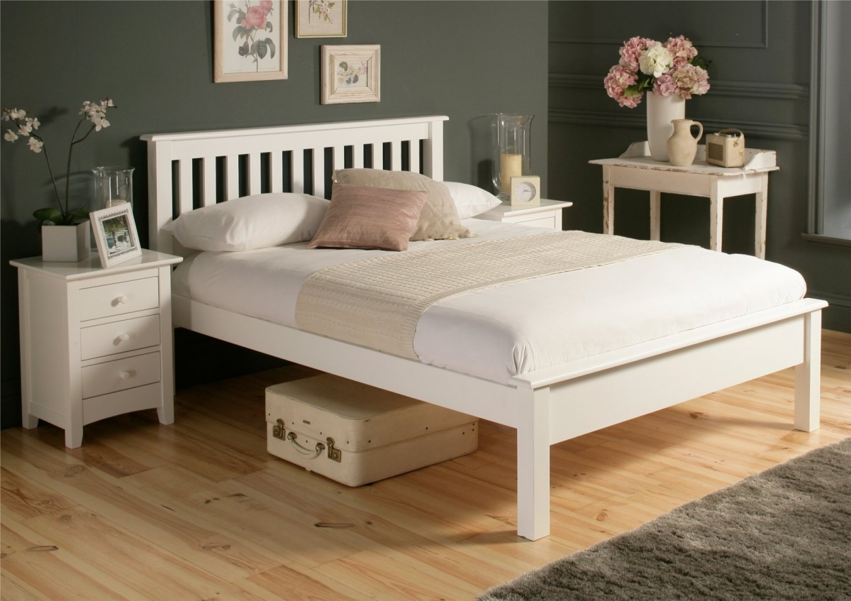 White Wood Bed Frames Double