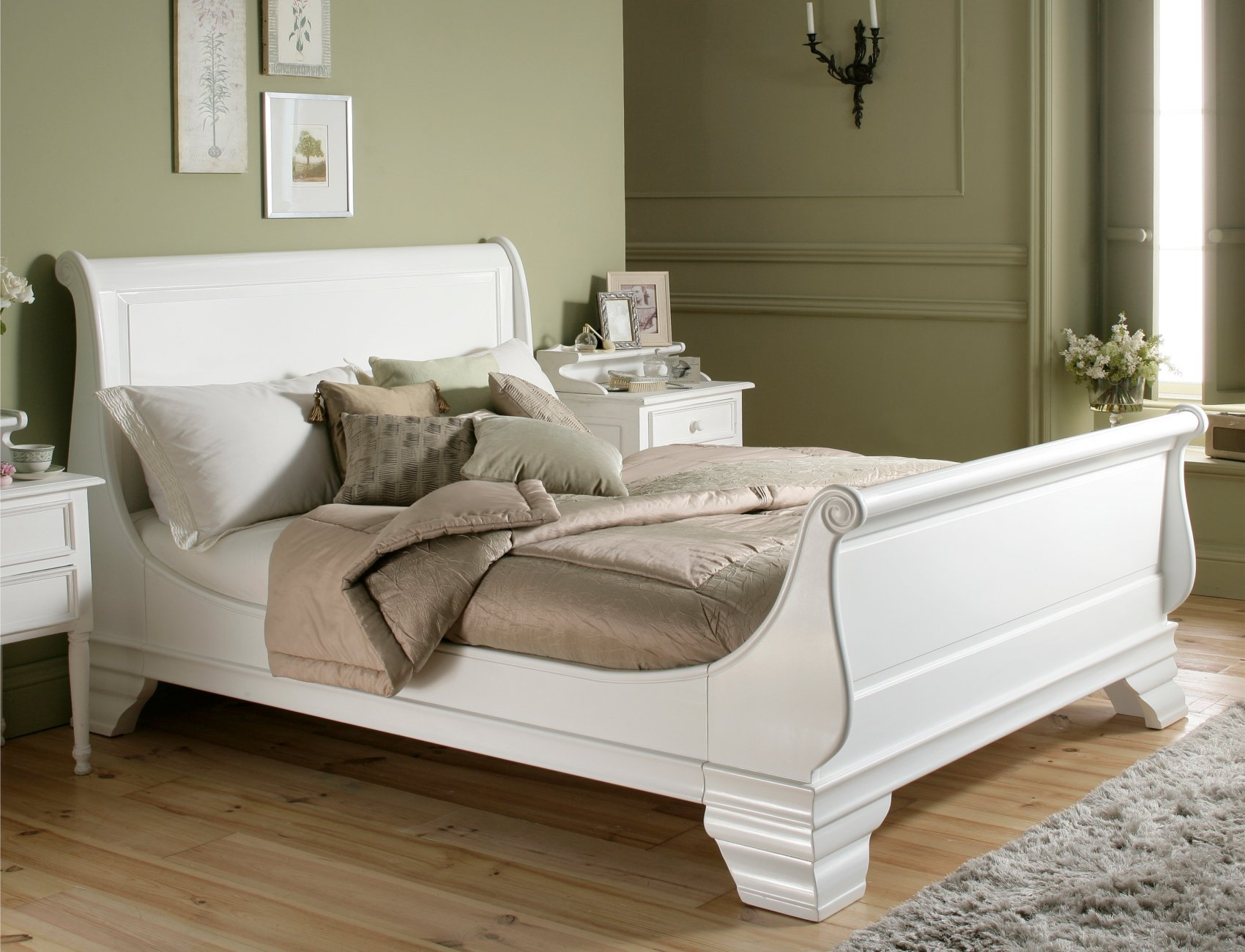 White Wood King Bed Frame