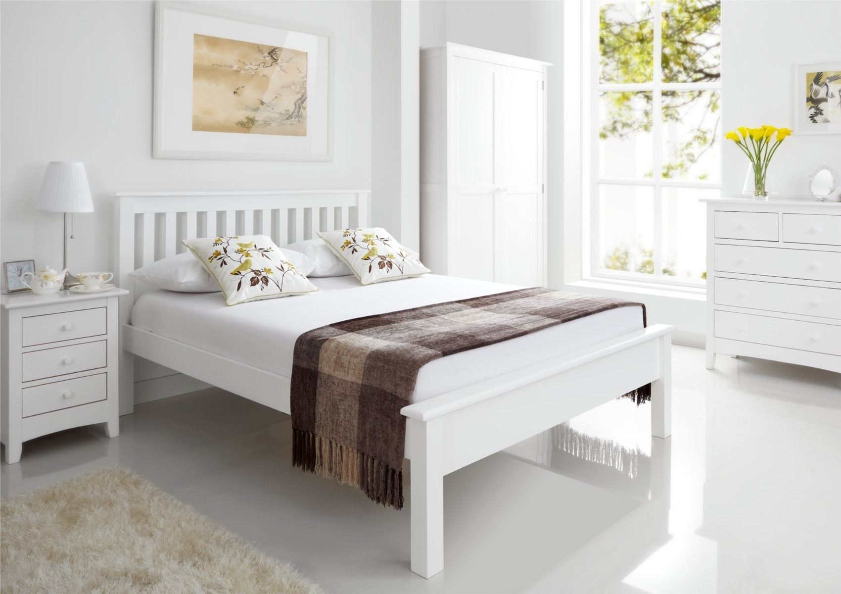 White Wooden Bed Frame Queen