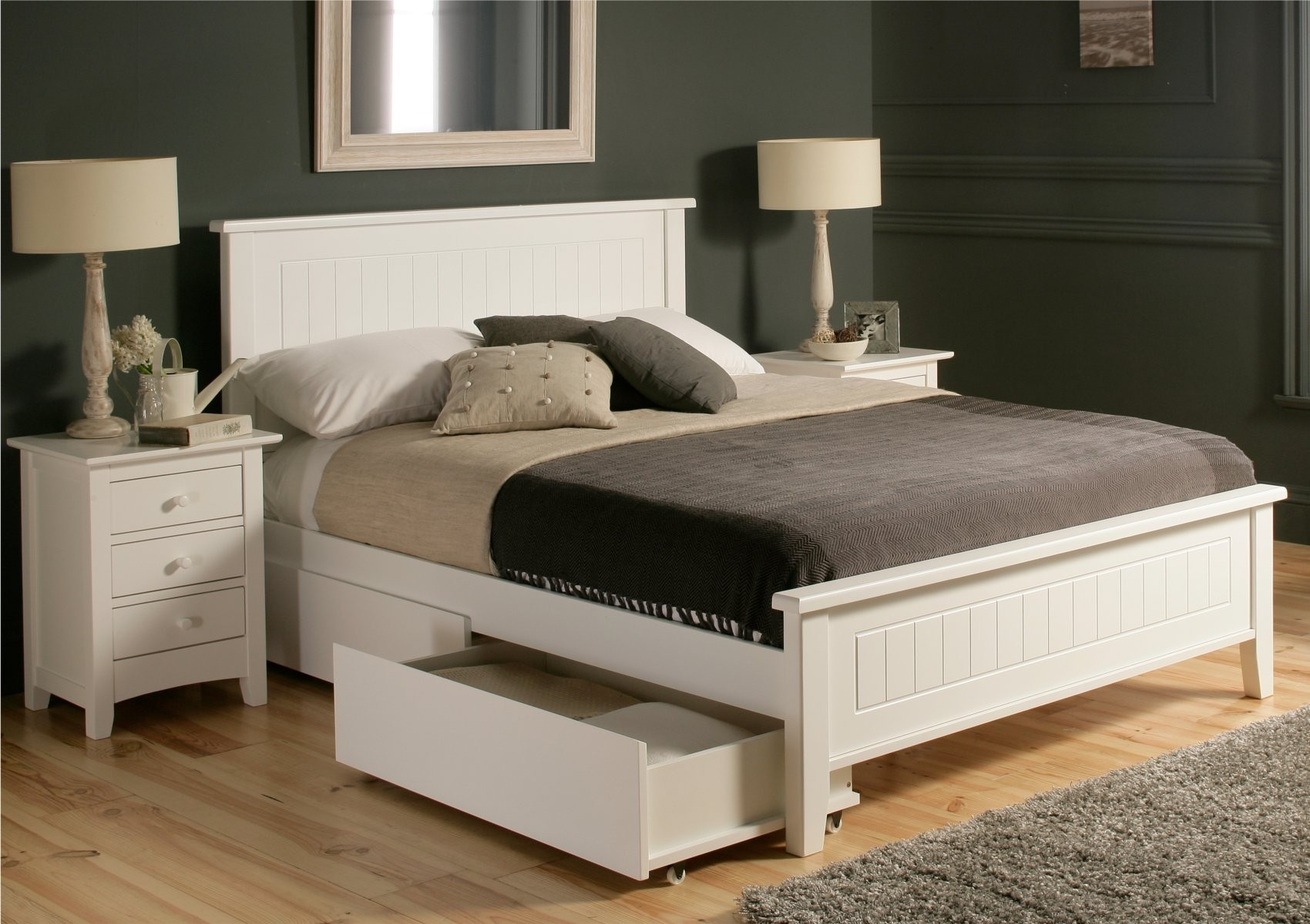 White Wooden Queen Size Bed Frame