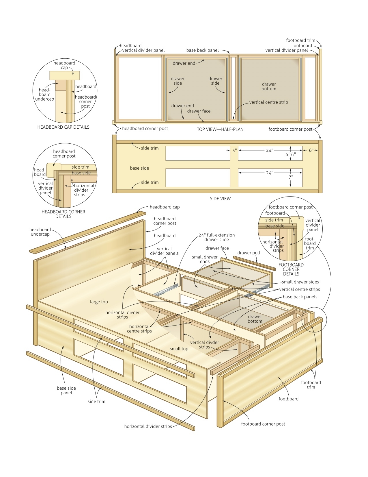 Wood Bed Frame With Drawers Plans