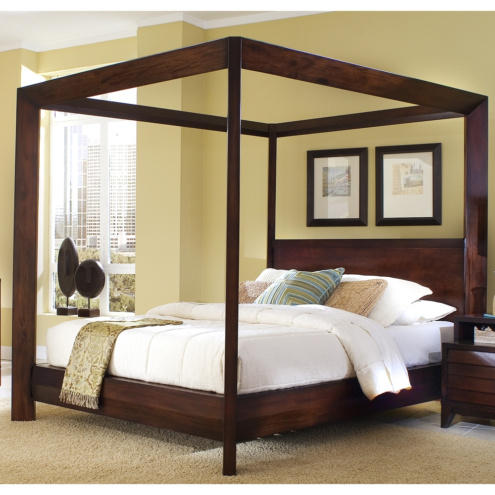 Wood Canopy Bed Frame King