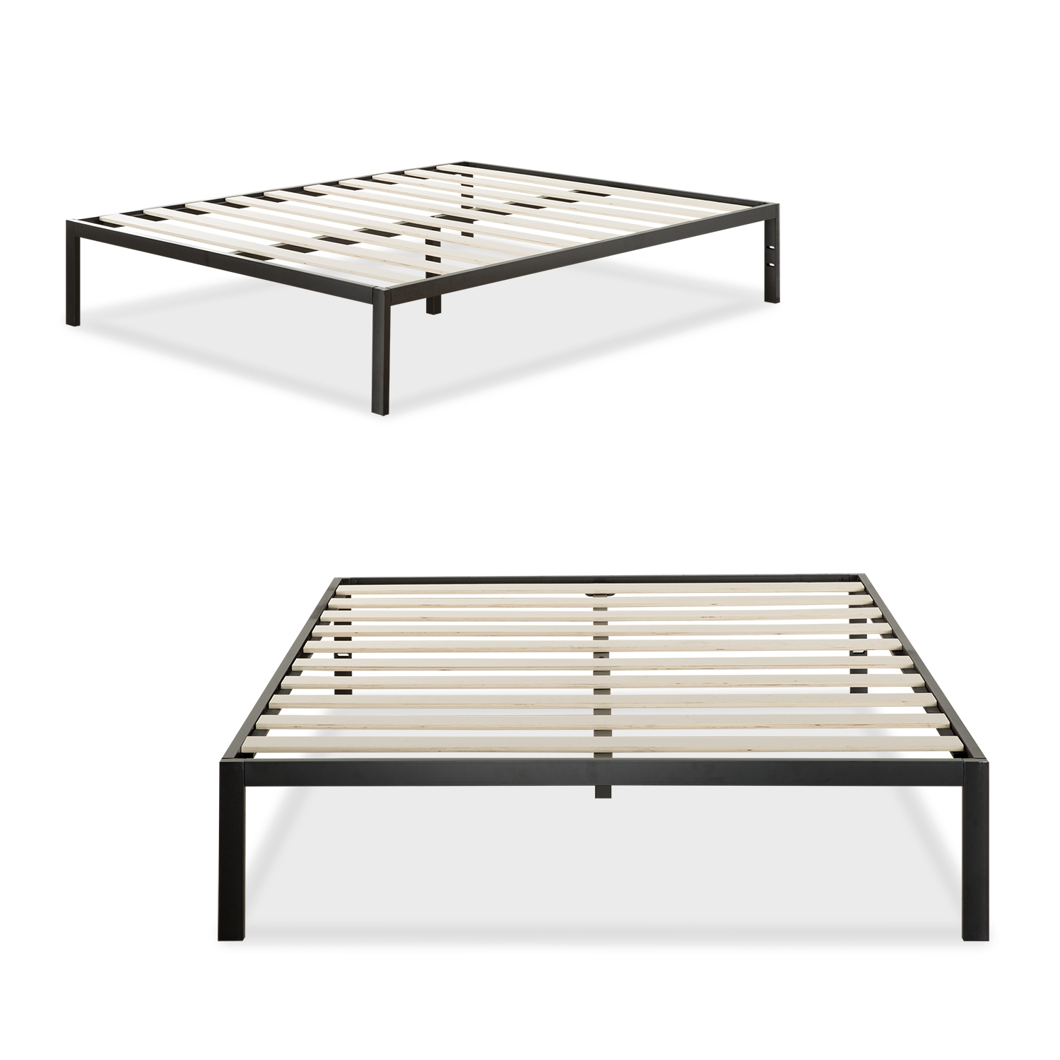 Wooden Slat Full Bed Frame Black