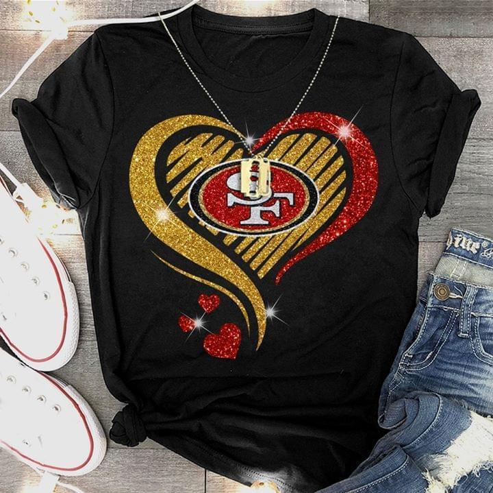 San Francisco 49ers Glitter Heart Shape T Shirt