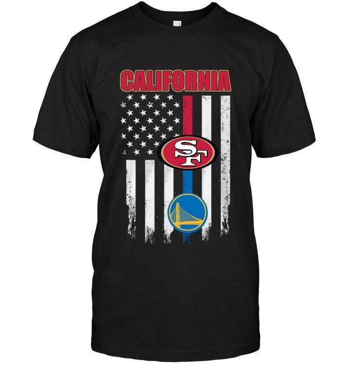 California San Francisco 49ers Golden State Warriors American Flag Shirt