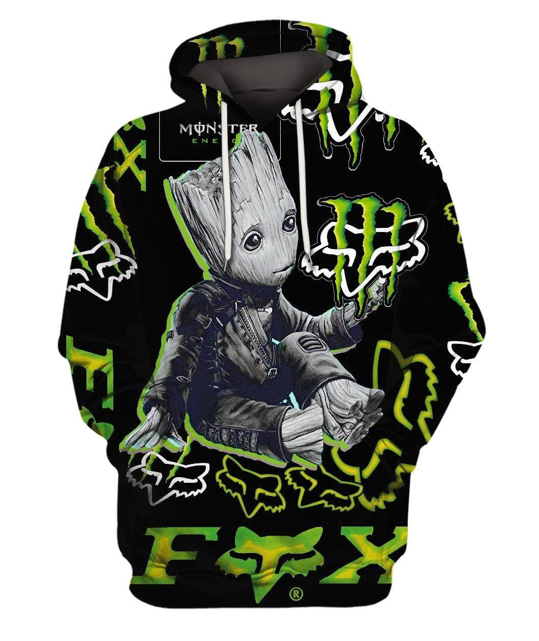 Groot Fox Bike Monster Energy Green 3d Full Print Hoodie