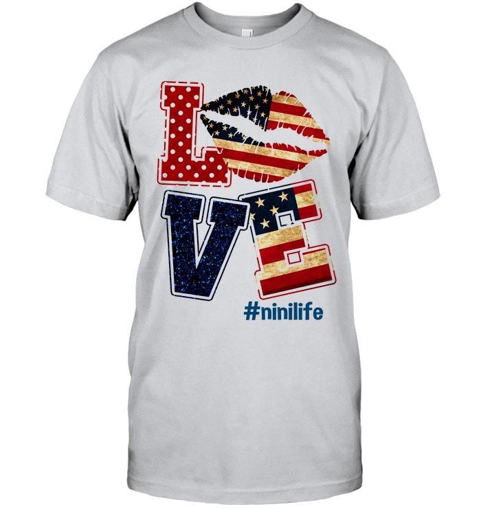 Love Nini Life American Flag Ash T Shirt