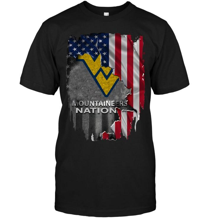 West Virginia Mountaineers Nation American Flag Ripped Shirt