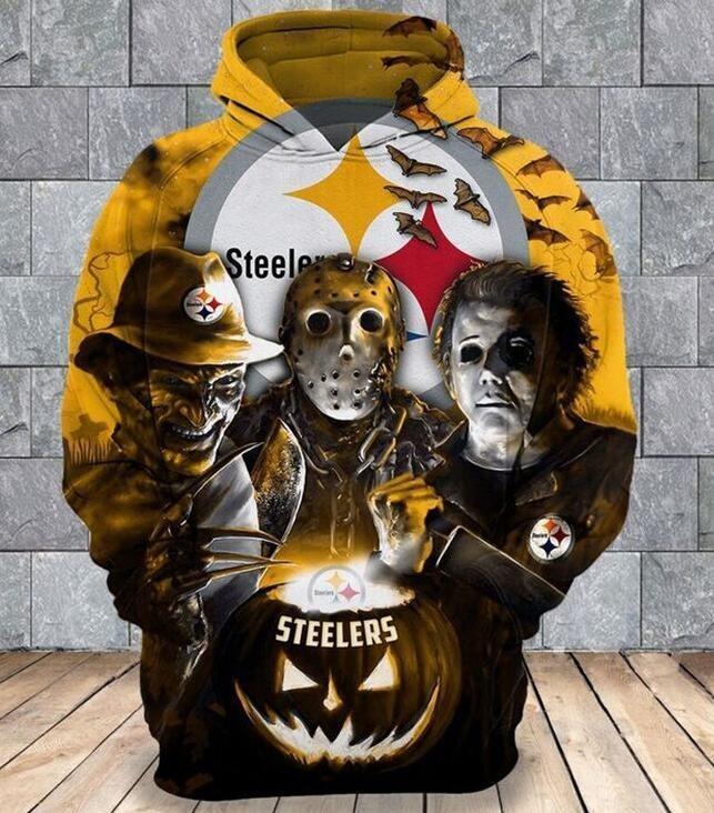 Freddy Jason Michael Myers Loves Pittsburgh Steelers Pumpkin Head Halloween 3d Hoodie