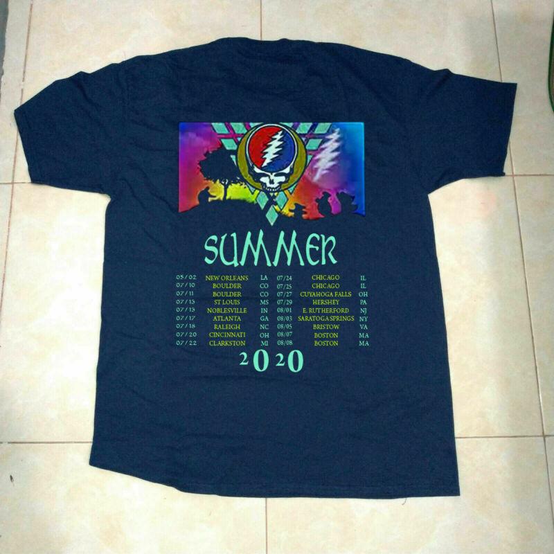 Dead And & Company Summer tour 2020 Grateful Concert t-shirt navy blue & black