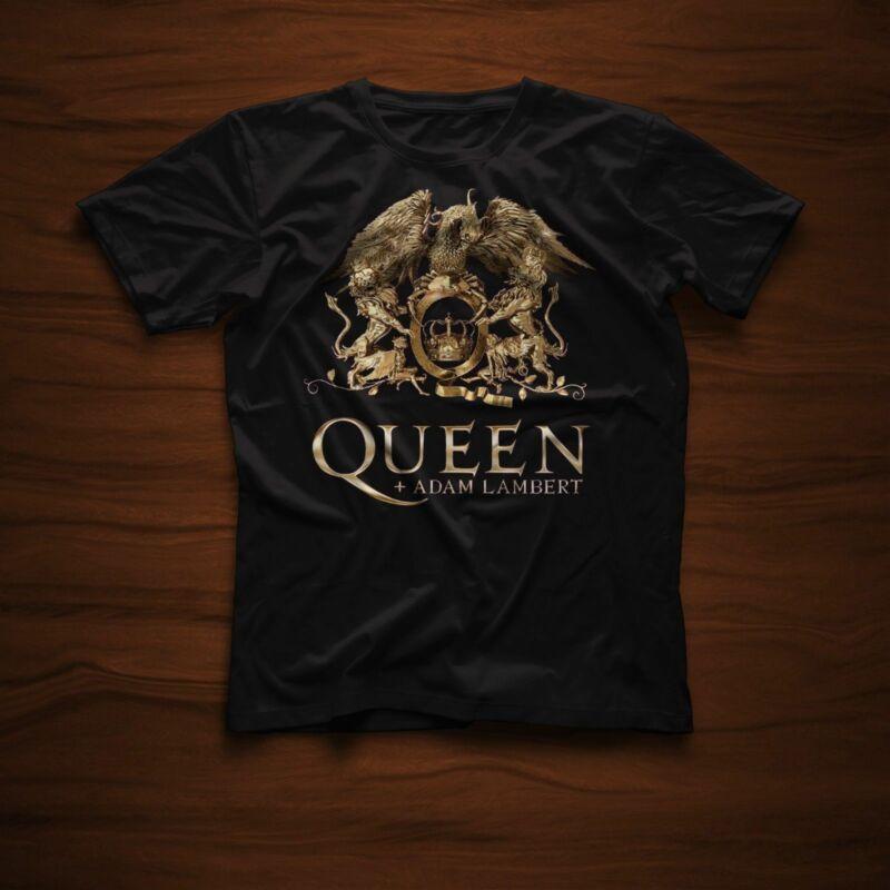 RARE Fashion Mens Queen Adam Lambert Tour 2020 White & Black T-shirt tee USA