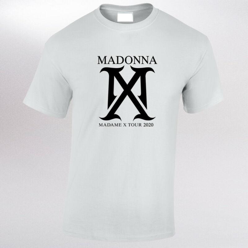Mens Madonna Madame X Tour 2020 Black Vinyl Text White T Shirt Music