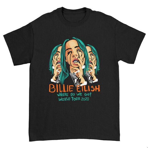 T-shirt Rare Billie Eilish Where Do We Go ? World Tour 2020 Size Mens US Black