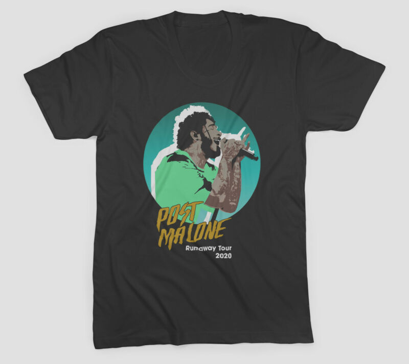 New Popular POST MALONE 2nd Leg Runaway Tour 2020 Black T-Shirt Size S-3XL