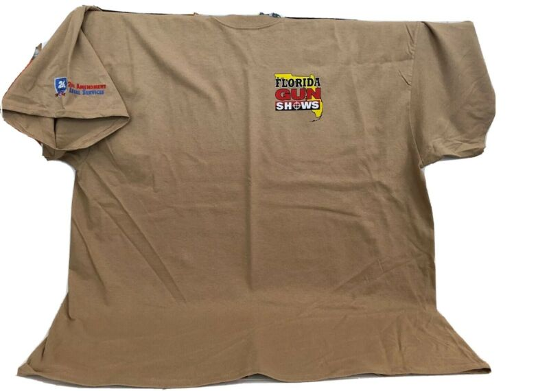 Florida Gun Show Tour 2020 Shoot Straight Promo Men?s Tee T-shirt Size 2XL Green