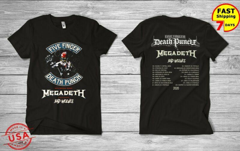 five finger death punch megadeth bad wolves tour 2020 t shirt US SZ S-5XL