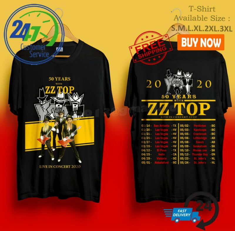 ZZ Top Shirt 50th anniversary tour 2020 T-Shirt Size Men Black Gildan S-4XL