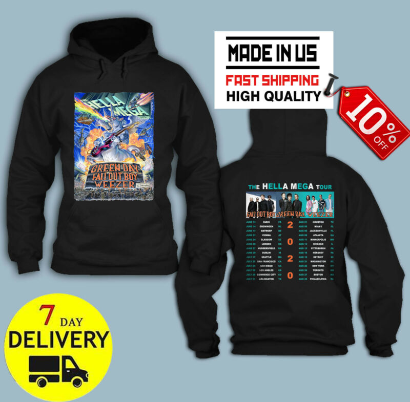new The Hella Mega Tour 2020 Green Day Weezer HOODIE T Shirt Size S-5XL