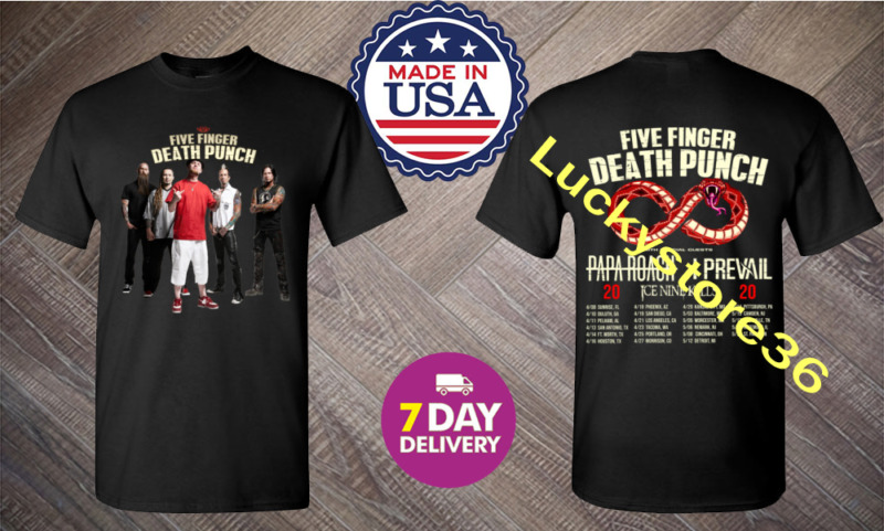Five Finger Death Punch Shirt U.S tour dates 2020 T-Shirt Size S-3XL Men Black.