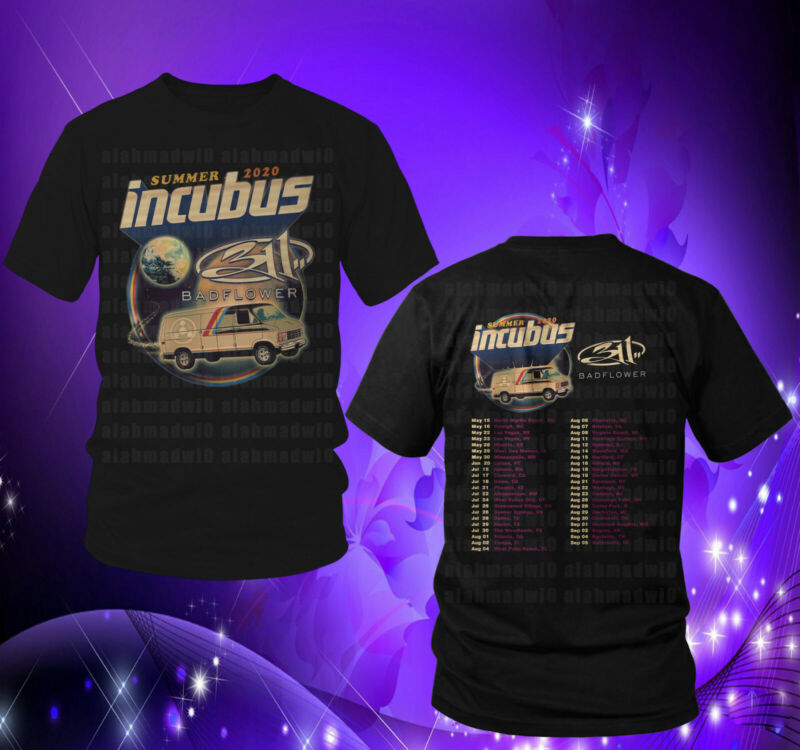 Incubus Summer Tour 2020 with 311 & Bad Flower Black Mens Womens Tshirt