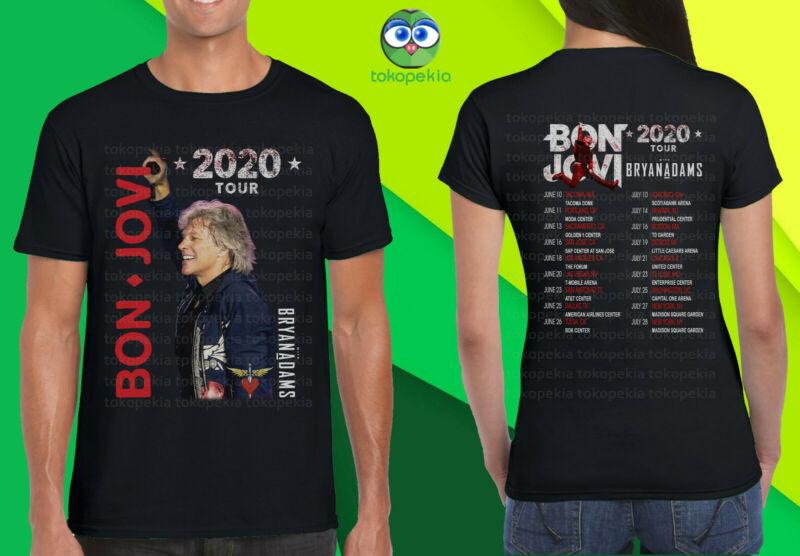 Bon Jovi 2020 Tour With Bryan Adams Black Mens Womens Tshirt