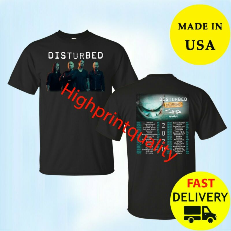 Disturbed Shirt The Sickness Tour 2020 T-Shirt Black Mens Tee Size M-3XL