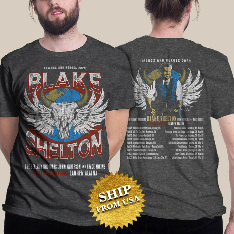 Blake Shelton T-shirt Friends And Heroes Tour 2020 Retro Vintage Music tee S-3XL