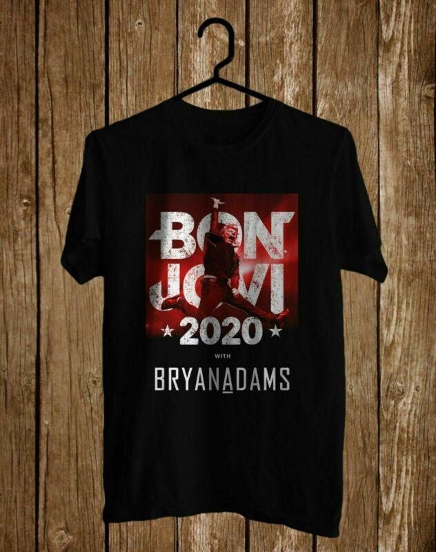 Grab Fast Bon Jovi With Bryan Adams 2020 Tour One Side Black Tee Ff2009