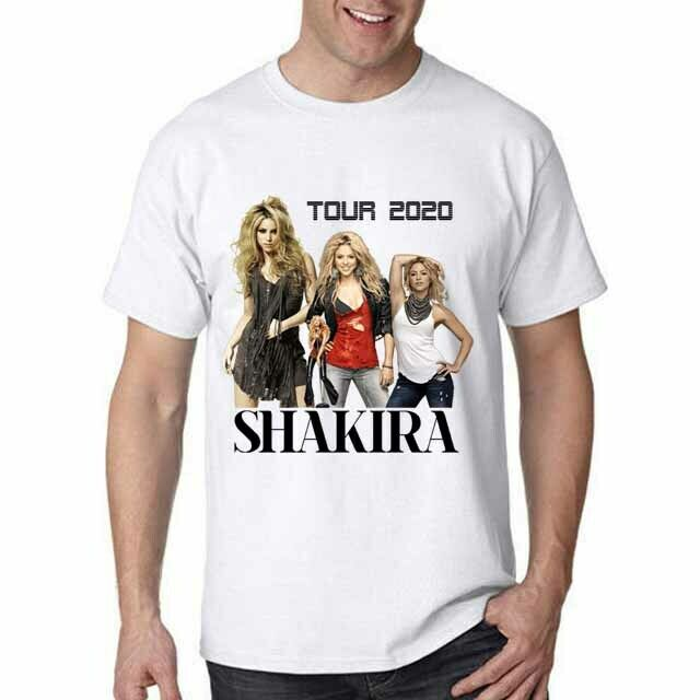 New Shakira 2020 Tour Tshirt White Cotton Tee Men T-Shirt Size S to 3XL