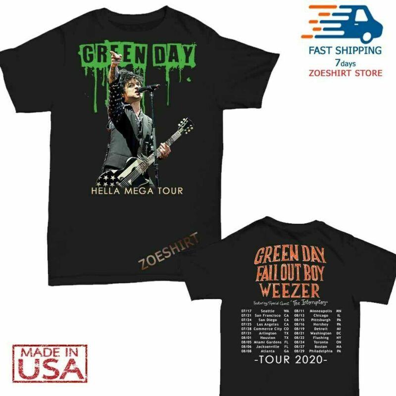 Green Day Fall Out Boy Weezer Shirt Hella Mega Tour 2020 T-Shirt Size S-3XL