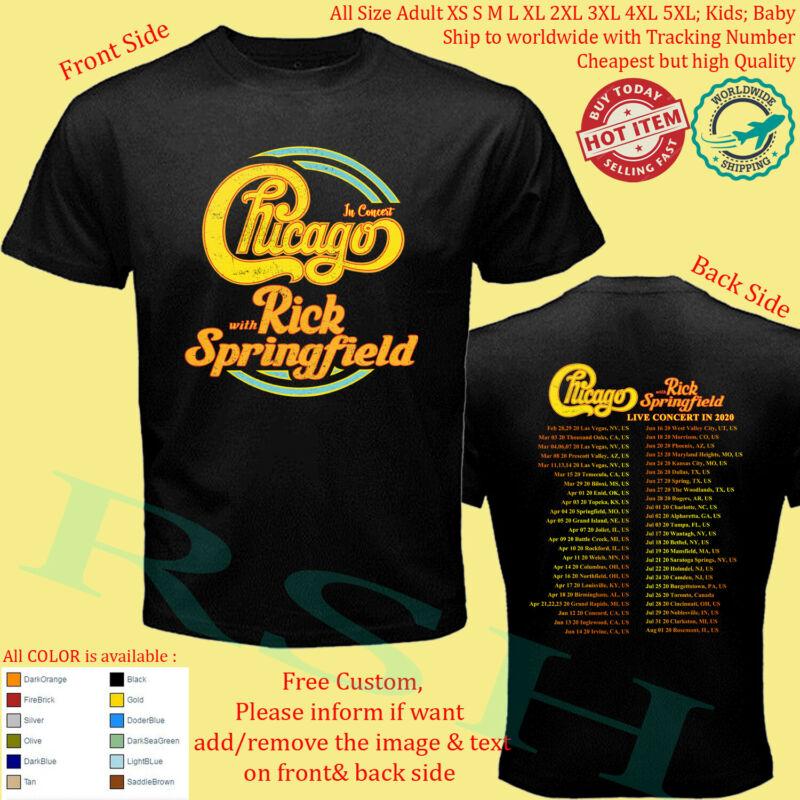 CHICAGO THE BAND  RICK SPRINGFIELD Tour 2020 T-Shirt Adult S-5XL Youth Infants /CHICAGO-THE-BAND-RICK-SPRINGFIELD-Tour-2020-T-Shirt-254451030659.html