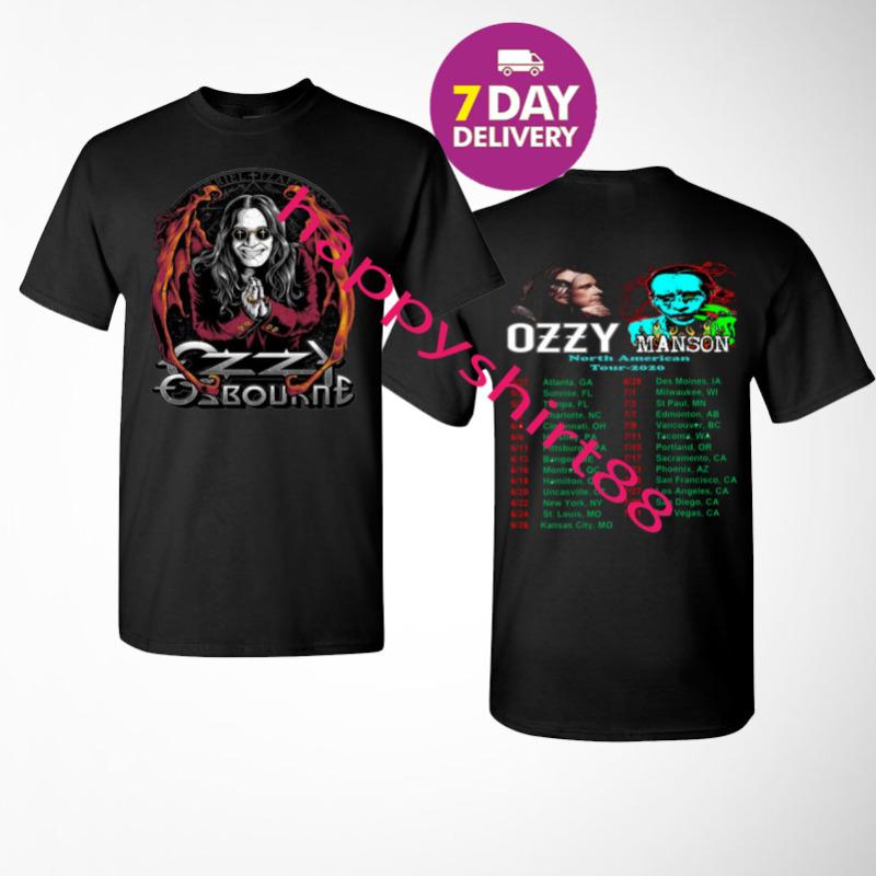 Ozzy Osbourne t Shirt 2020 No More Tours 2 T-Shirt Black Size S-3XL Men 2 Side.